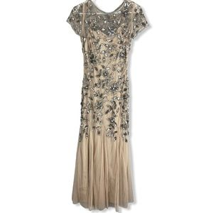 Adrianna Pappell tulle sequin maxi dress champagne